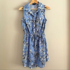 Bebop blue & white stripe floral shirt dress small